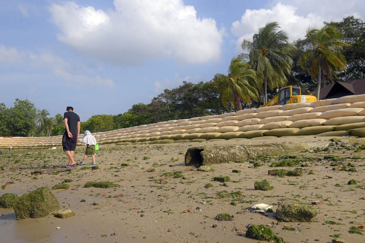 Pasir Ris Beach on April 11, 2021. To address coastal erosion along the shorelines, the National Parks Board implements measures such as beach nourishment, soft armouring using geo-bags and construction of sea dykes.