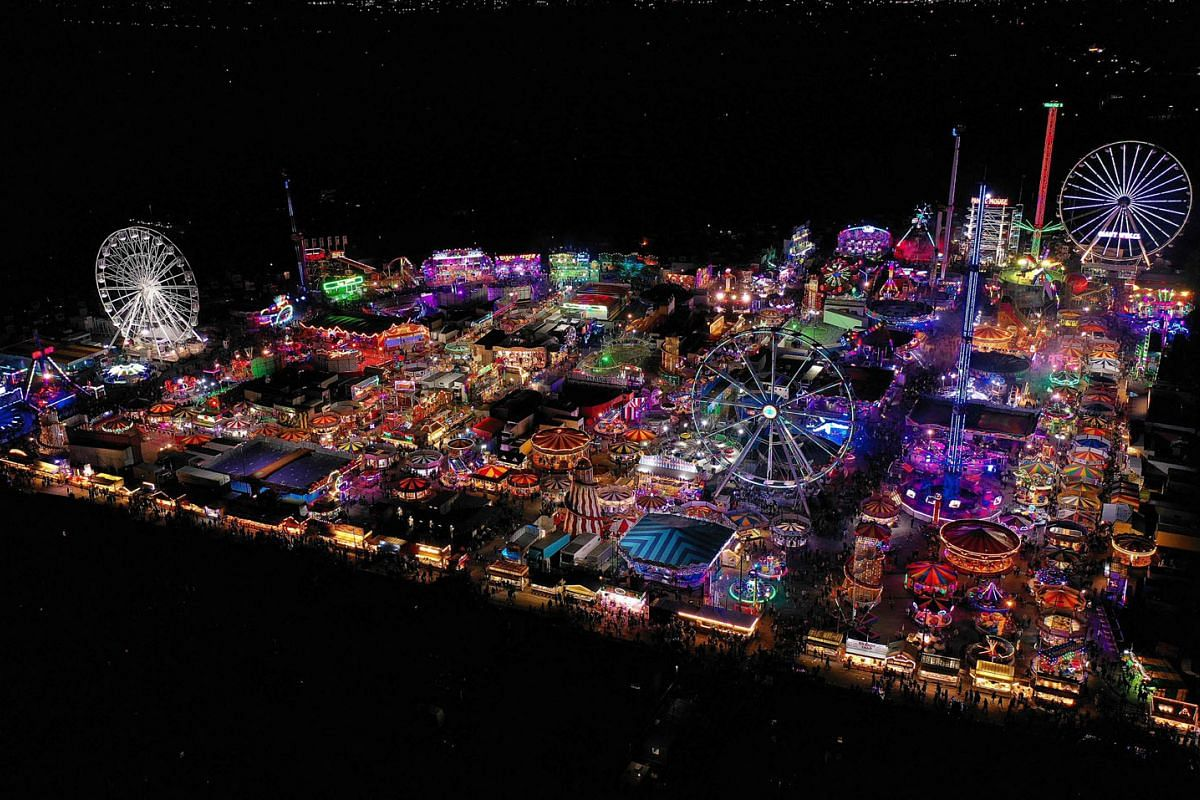 An aerial view shows the rides and stalls at the Hull Fair on October 11, 2021.  The Hull Fair, one of Europe's largest travelling fairs, returned after a break due to the coronavirus pandemic.