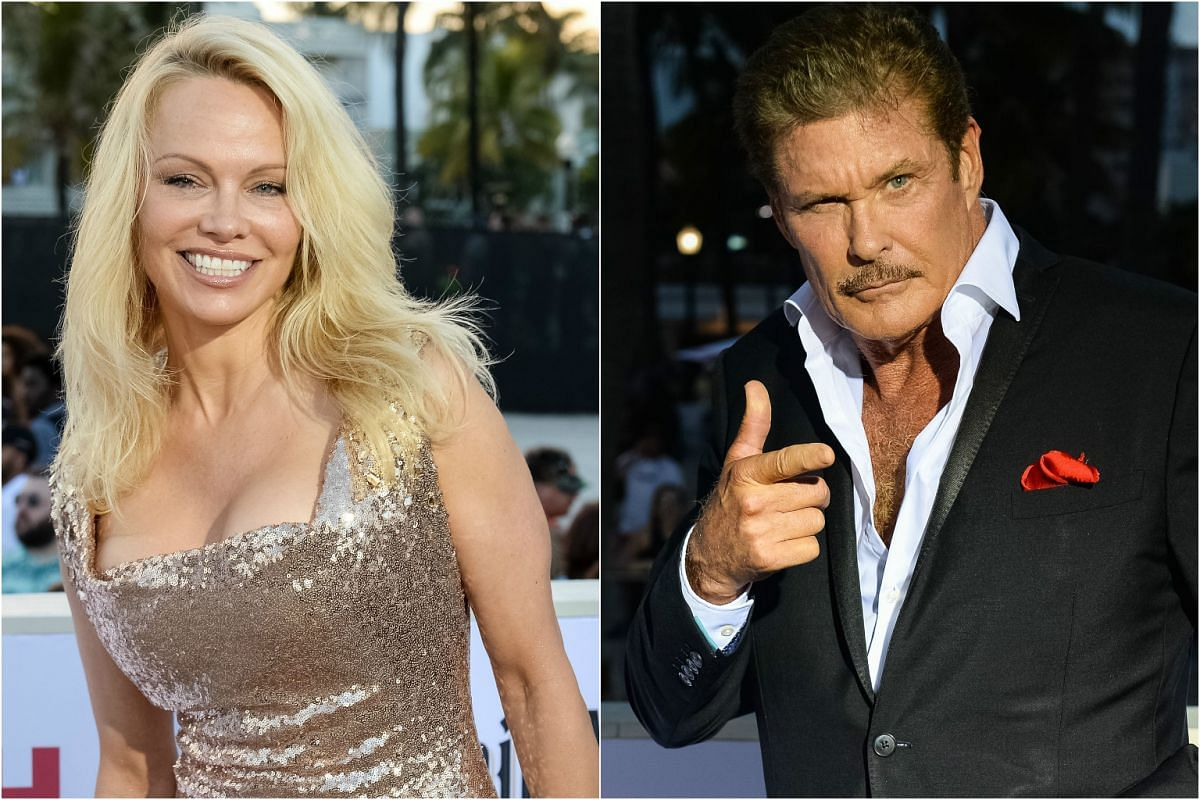 Original Baywatch cast members Pamela Anderson and David Hasselhoff attend the movie premiere.
