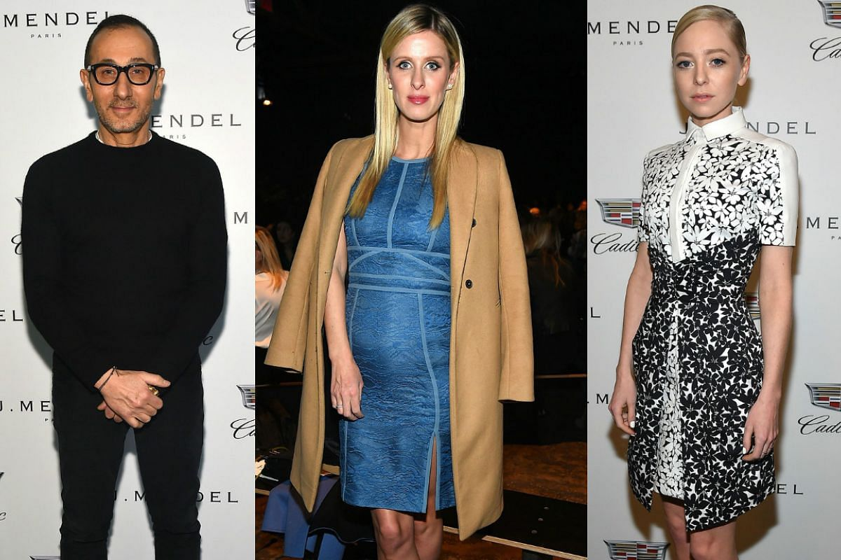 Designer Gilles Mendel with celebrities Nicky Hilton and Portia Doubleday backstage at the J. Mendel fashion show on Feb 18, 2016.