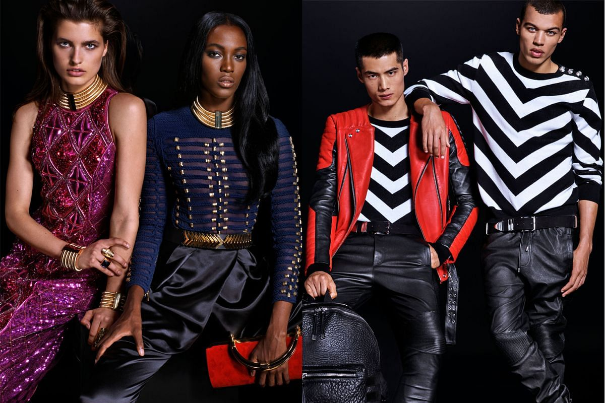 Some of Balmain's designs for H&M are almost exact replicas of its old pieces, including an embellished pearl beaded jacket (above).