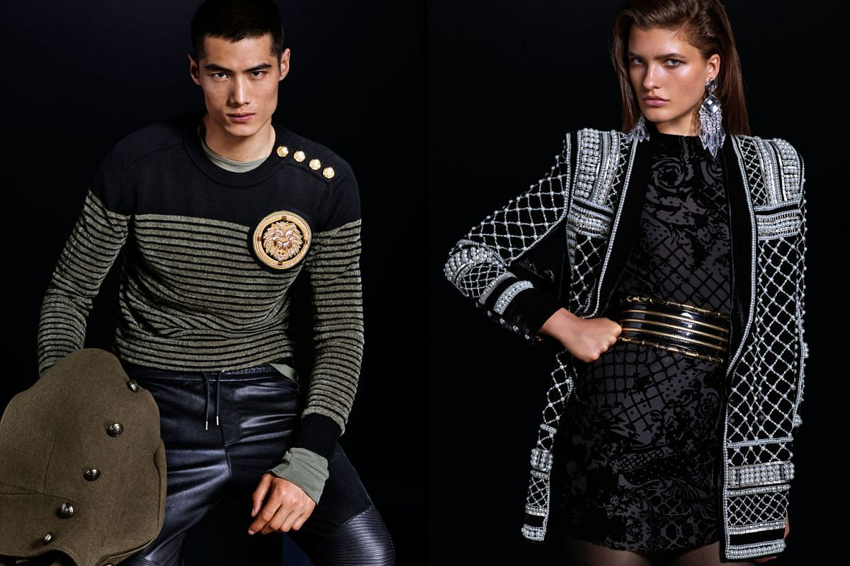 Some of Balmain's designs for H&M are almost exact replicas of its old pieces, including an embellished pearl beaded jacket (right).