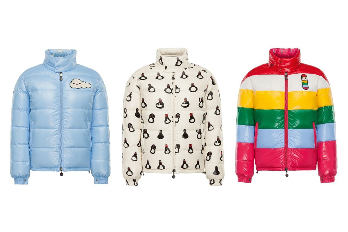 Moncler's down jackets range from luxe (top) to whimsical. The new collection by artist duo FriendsWithYou include (above from left) Cloudy, Malfi the penguin and Mr TTT, a fluorescent pill-shaped rainbow.