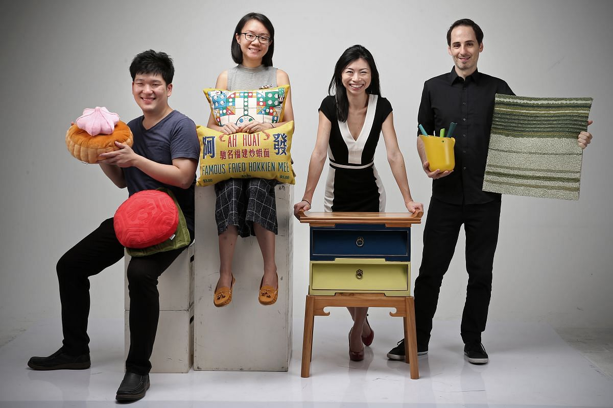(From left) Mr Jonathan Hee from Meykrs, a newly launched label known for their ice gem cushions; Ms Tan Li Ling, owner and designer of label and accessories store Wheniwasfour; Ms Pamela Ting from Scene Shang, an indie homeware and furniture label;