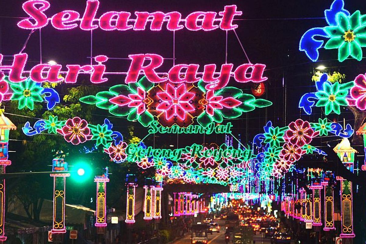 Pink, green and blue lighting up a stretch of road from Geylang to Sims Ave as the annual Hari Raya light-up began on June 13.