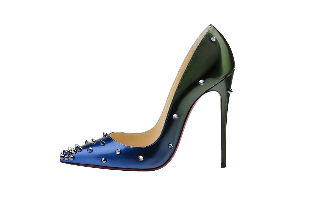 Christian Louboutin's Fall/Winter 2015 Degraspike patent shoes. Price in Singapore: $1,400; in Europe: around 638 euros (S$996).