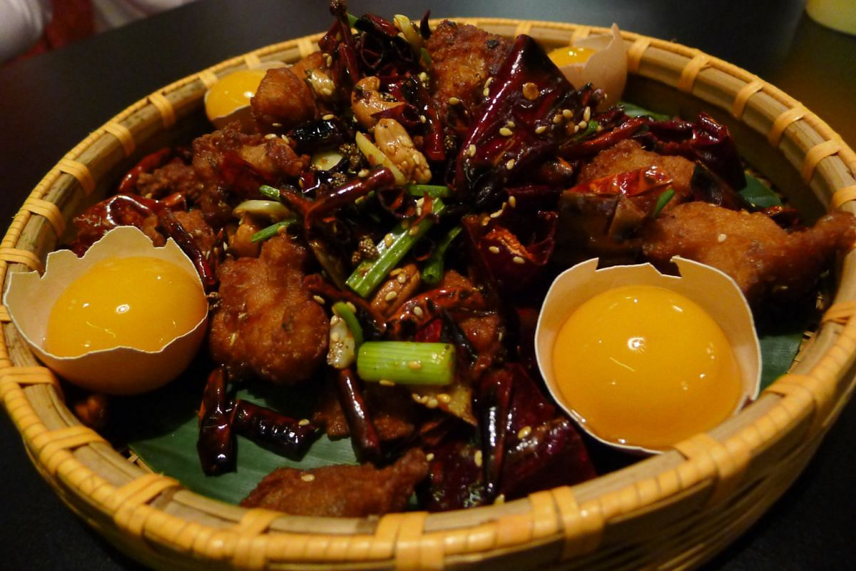 Lokkee's Firecracker Chicken Nest (above), Egg Drop Soup (left) and Awesome Flaming Pineapple Beef (below left).