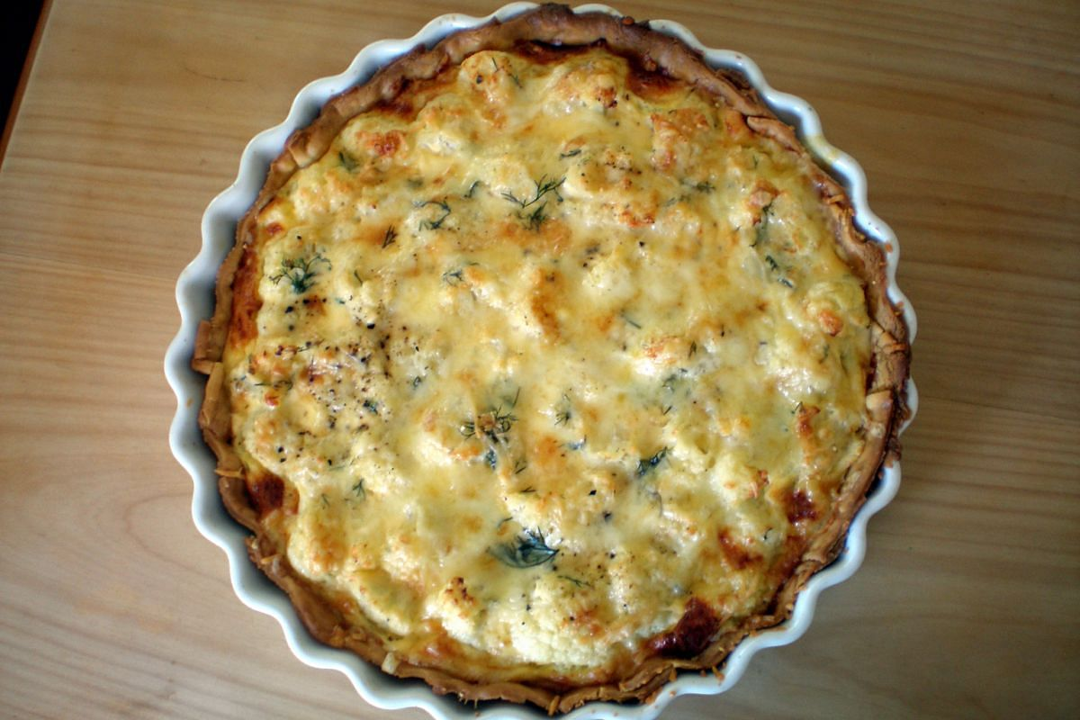Above (from left): Cauliflower and onions Below (from left): Dill, chopped onion and bacon Baked Cauliflower Tart is similar to a quiche, but does not need the same number of eggs and has more substance.
