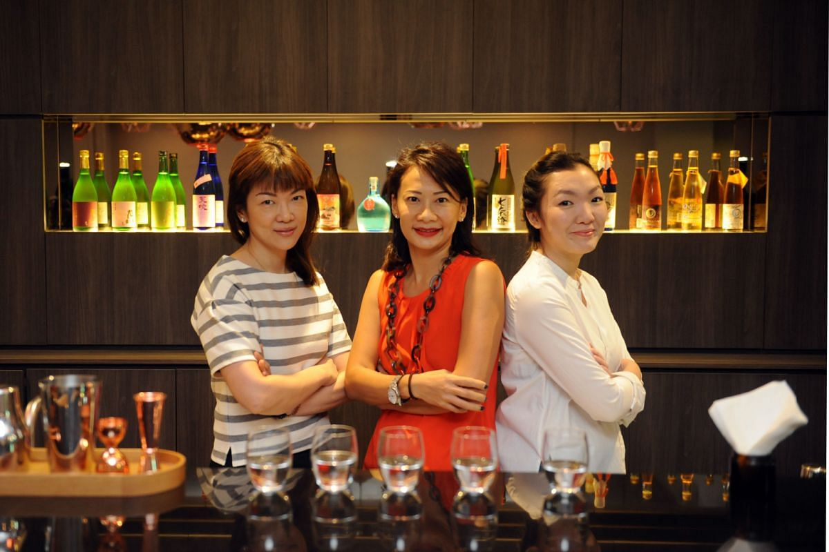 The food establishment run by (from left) Ms Gwen Lim, Ms Dawn Lim and Ms Felicia Koh is a cafe in the day and a sake bar at night.