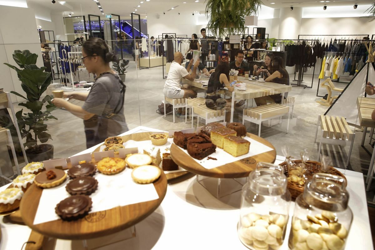 Shoppers are welcome to linger at the cafes within multi-label boutique Kapok at the National Design Centre, In Good Company at Ion Orchard (above) and Cafe&Meal at Muji in Paragon.