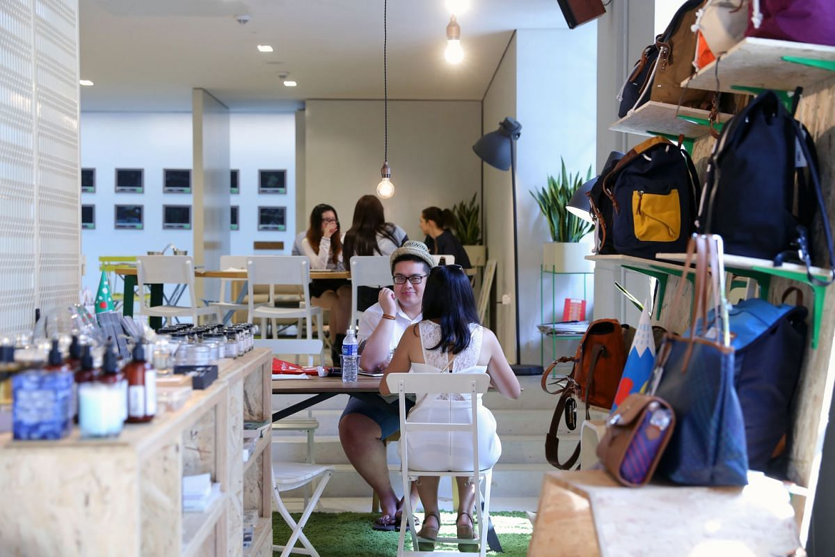 Shoppers are welcome to linger at the cafes within multi-label boutique Kapok at the National Design Centre (above), In Good Company at Ion Orchard and Cafe&Meal at Muji in Paragon.