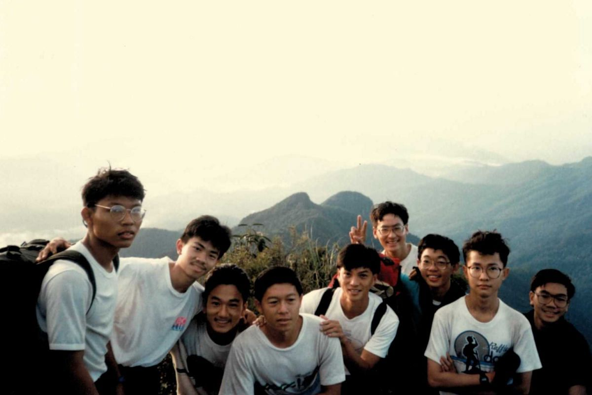 My Life So Far: Mr Lionel Yeo (above, second from right) on his first trekking trip during his junior college days at Gunung Tahan in Taman Negara, Malaysia; and hiking in 2004 in Santiago with Mr Ricardo Lagos Jr.