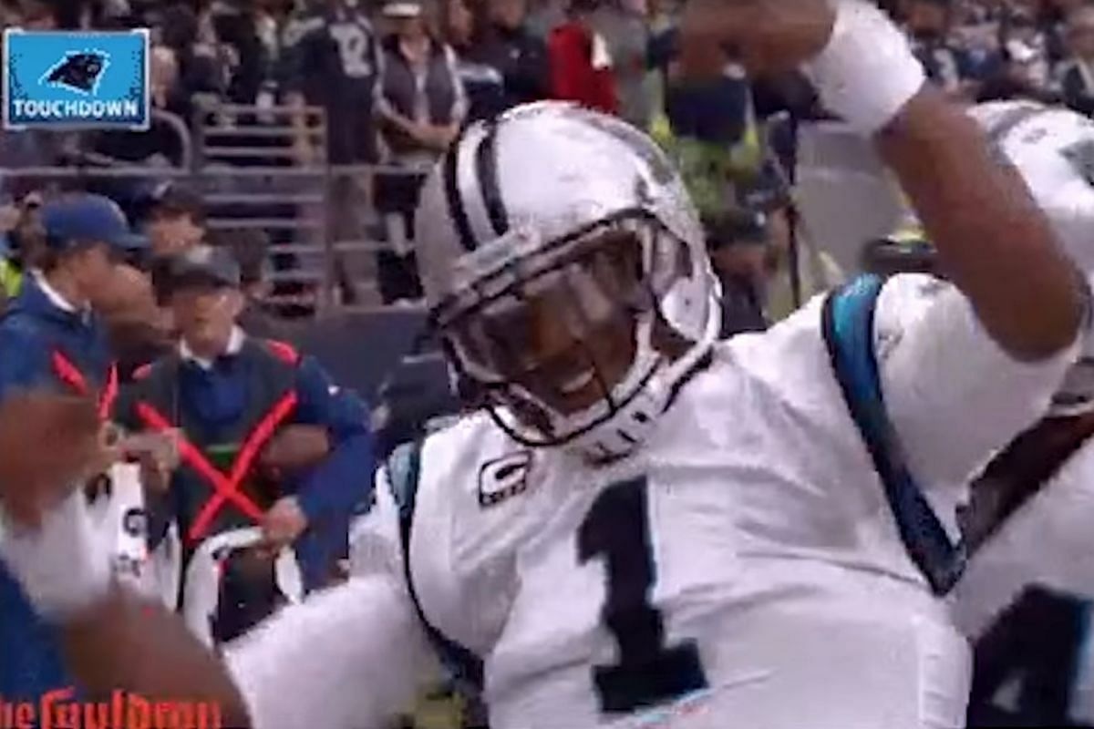 Carolina Panthers quarterback Cam Newton dabbing after a touchdown.