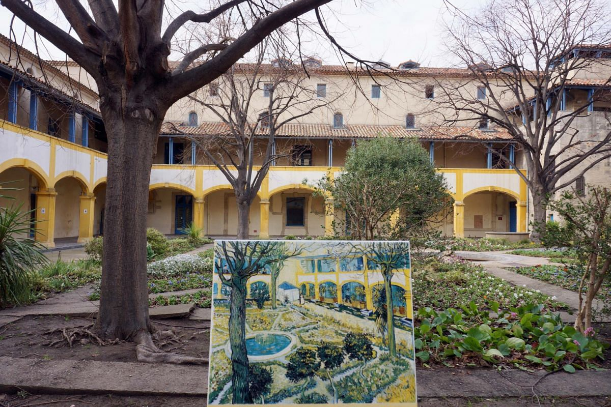 (Left) The coastline from Saint Paul de Vence to Eze. The hospital courtyard Vincent van Gogh painted in Arles while he was a patient there.