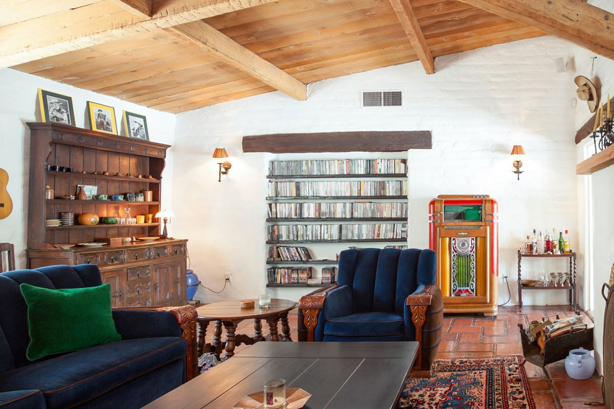 Bing Crosby's private retreat: The home boasts vaulted ceilings with exposed beams.