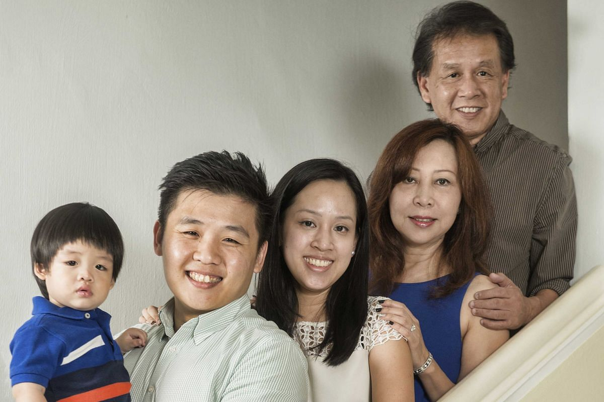 Grandparents Loh Lay San, 53, and Tony Bin (both above, far right), 57, with their daughter Jessica Bin, 25, son-in-law Jerwin Aligguy, 27, and nine-month-old grandson Jeremiah. Grandmother Aida Atan (right), 50, with her daughter Nur Nadia Jafreeli,