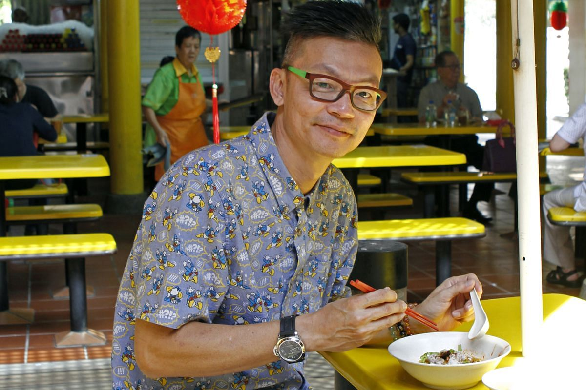 Funnyman Mark Lee eating his favourite bak chor mee at Adam Road Food Centre.