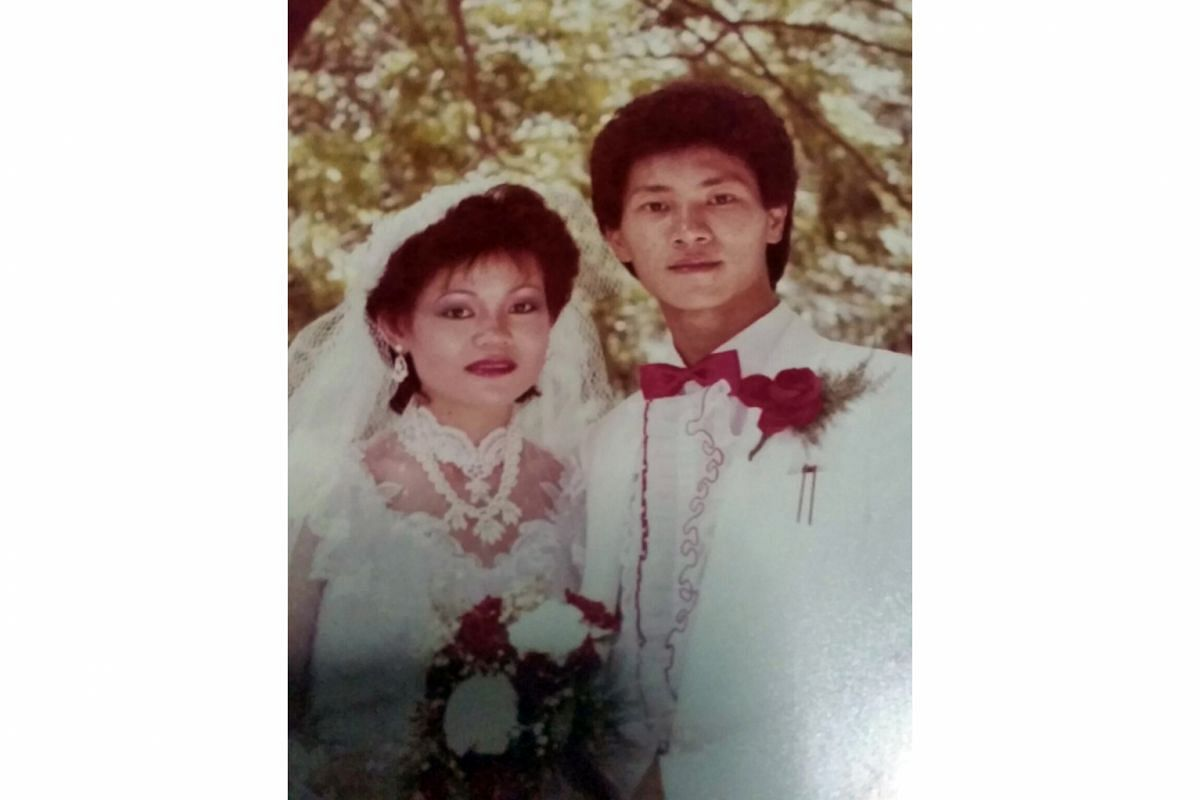 My life so far: Wang Lei when he was nine years old and in a wedding photo (above) with his wife, Madam Florence Cheng.