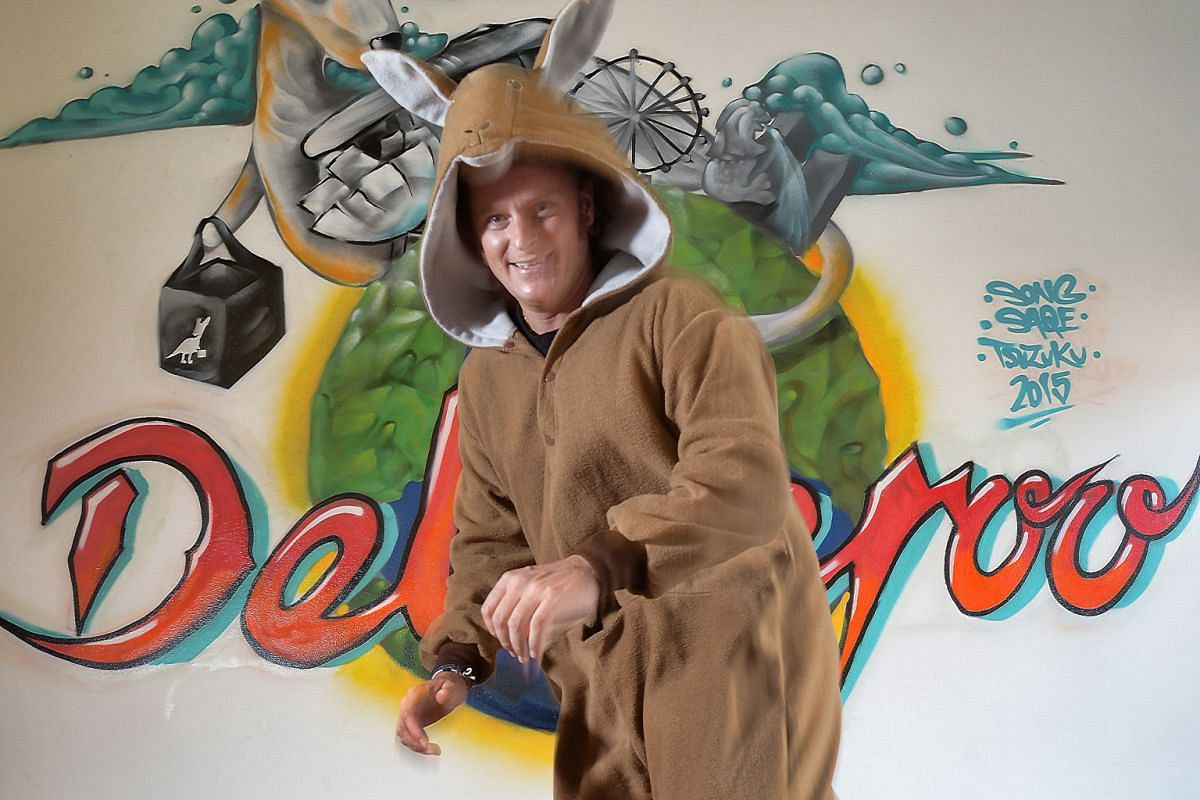 Mr Tristan Torres, general manager of food delivery service Deliveroo, in a kangaroo onesie. The kangaroo is the company's mascot.
