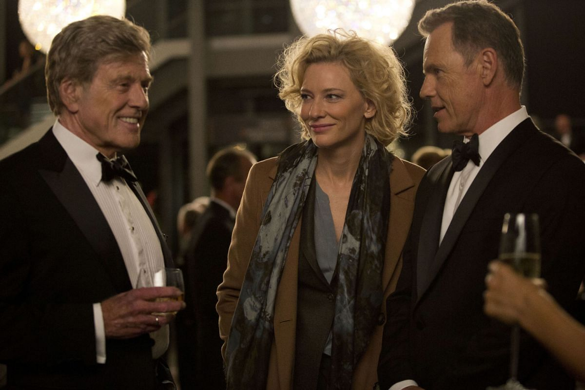 Cate Blanchett stars with Robert Redford (left) and Bruce Greenwood (right) in Truth, about the rise and fall of American TV news programme 60 Minutes producer Mary Mapes.
