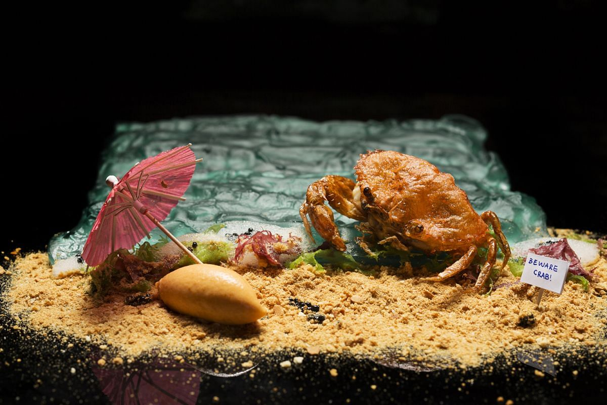 Chilli crab ice cream (above) by Labyrinth's chef Han Liguang can be found at Savour.