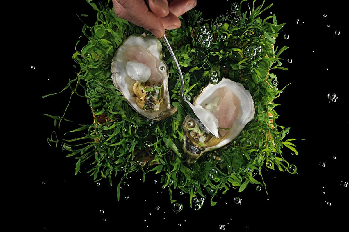 """Italian chef Massimiliano Alajmo, of three-Michelin- starred Le Calandre in Italy, is known for signature dishes such as Pier-Angelini, red shrimp tails served with chickpea puree and garnished with capers; and Apparenza (above), """"cold-cooked"""" dentex"""