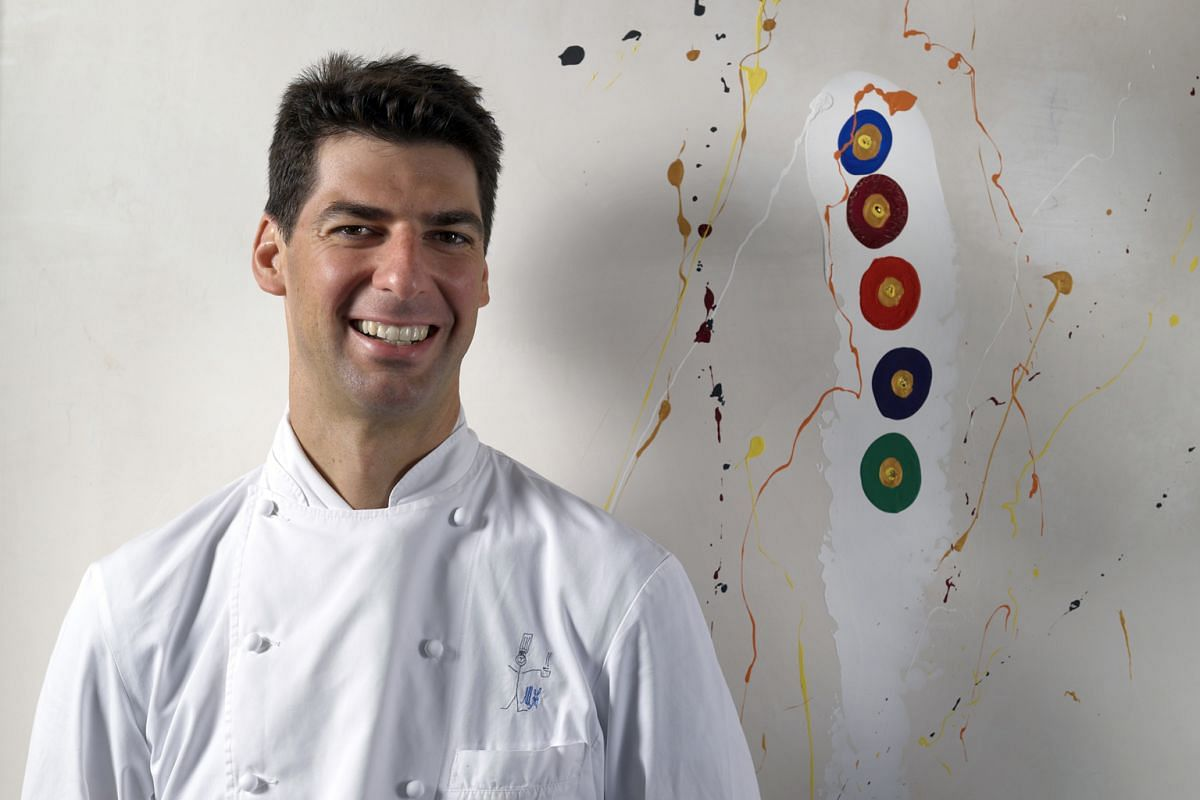 """Italian chef Massimiliano Alajmo (above), of three-Michelin- starred Le Calandre in Italy, is known for signature dishes such as Pier-Angelini, red shrimp tails served with chickpea puree and garnished with capers; and Apparenza,""""cold-cooked"""" dentex"""