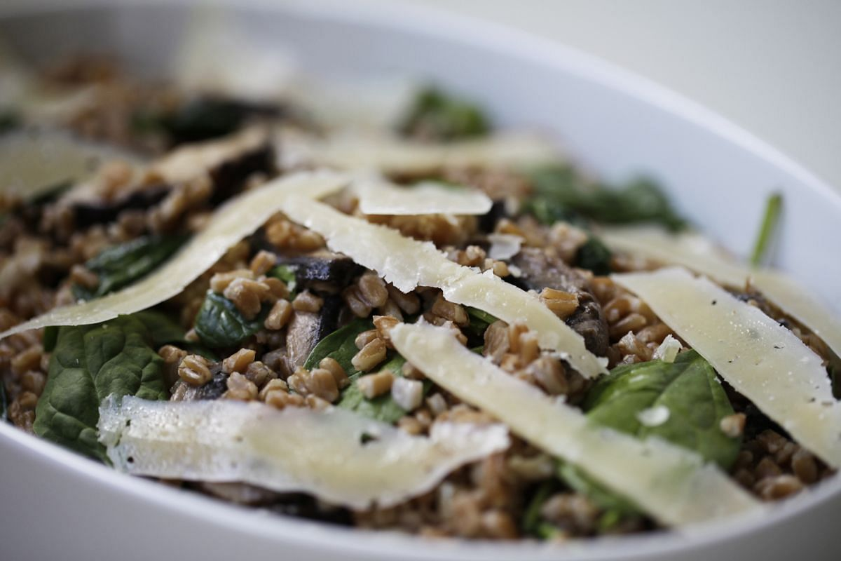 Farro goes well with mushrooms, spinach and parmesan cheese.