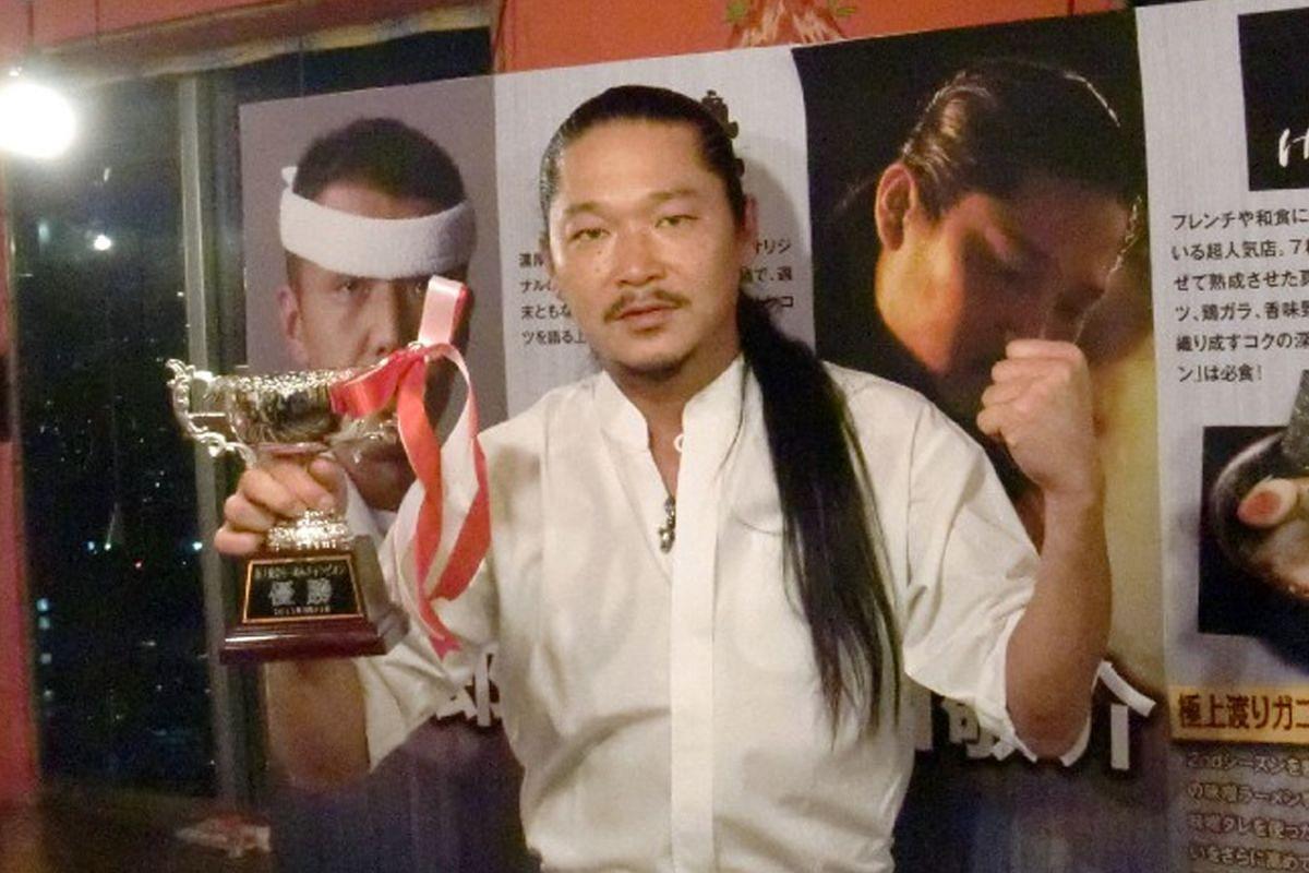 My life so far: Keisuke winning the title of Ramen Champion in Japan in 2011.