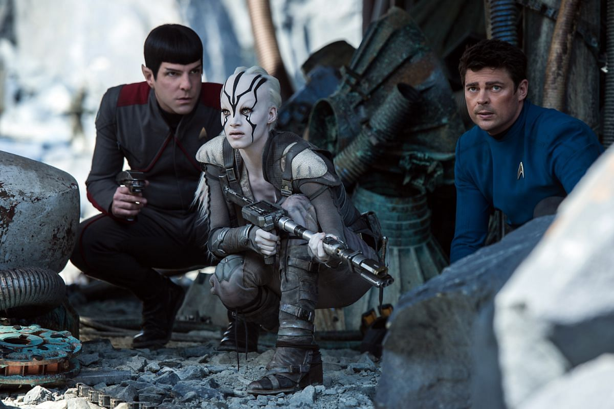 (From far left) Zachary Quinto plays Spock, Sofia Boutella plays Jaylah and Karl Urban plays Bones in Star Trek Beyond.