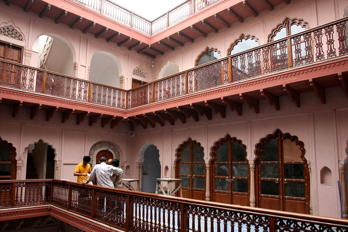 Haveli Dharampura was crumbling but has since been restored to its original splendour (above). It now reminds residents of the former glory of the Chandni Chowk constituency in Old Delhi.