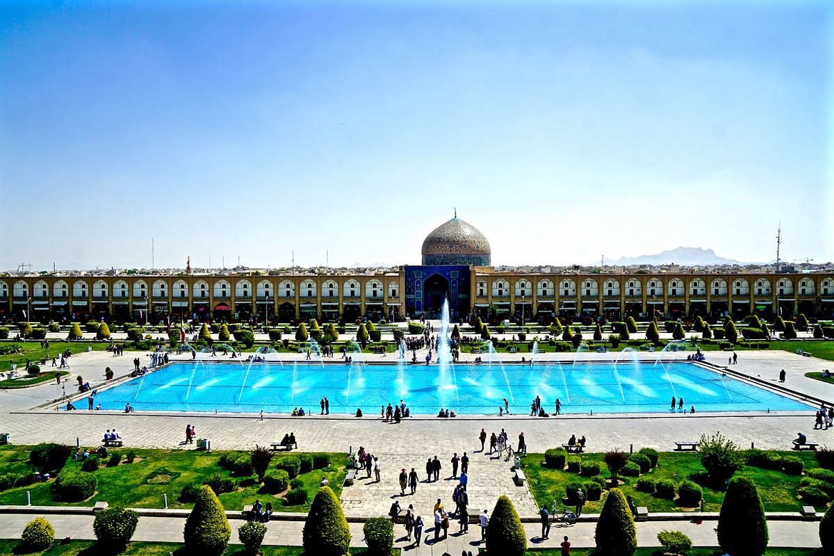 The grand Naqsh-e Jahan Square (left) in Isfahan, a Unesco-listed site with mosques, a palace and bazaar.