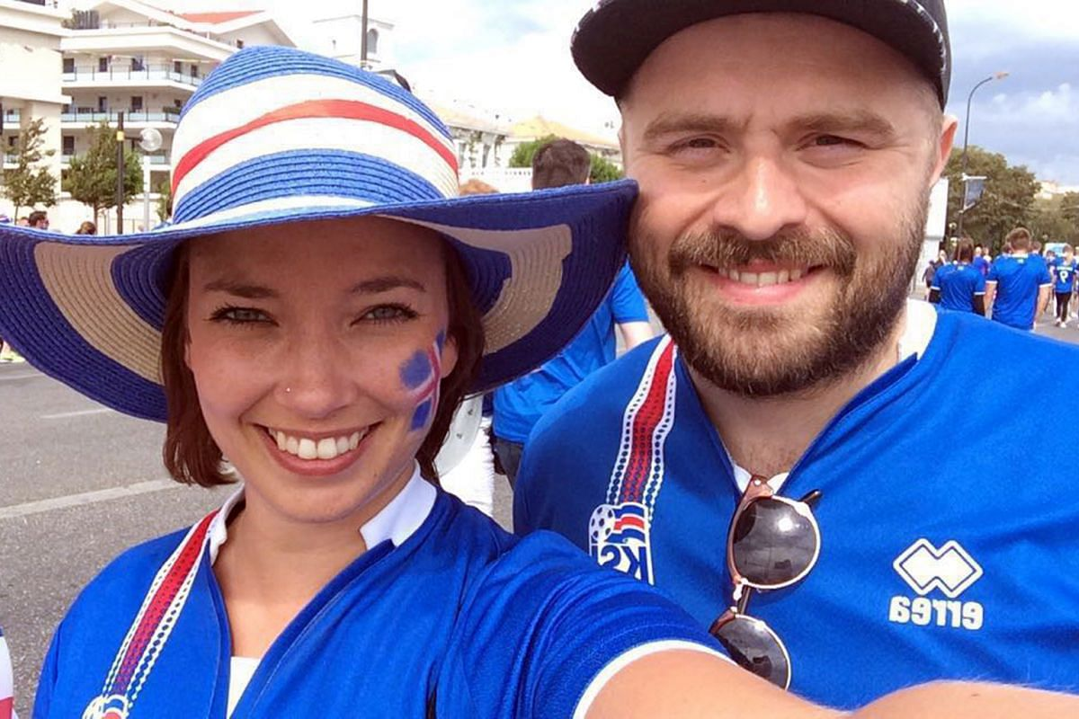 From top: Thora Bjarnadottir and Jon Einar Valdimarsson in Marseille, outside the fan zone before the Hungary clash. Johann Bianco (right), one of the drummers among Iceland supporters, celebrating with his countrymen. Thor Baering Olafsson with his