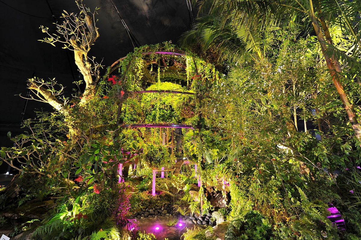 Silence (above) by Andrew Wilson, 57, and Gavin McWilliam, 40, from the United Kingdom, won a silver award in the landscape gardens category. Their garden - with rain trees, shrubs and a reflective pool - is inside a curvy cement-based structure. Vis