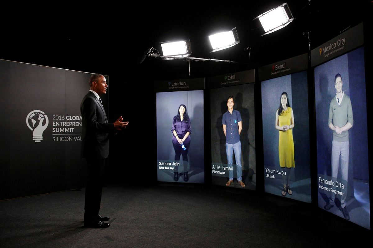 United States President Barack Obama participating in a Google Portal virtual conversation with entrepreneurs at the Global Entrepreneurship Summit at Stanford University in Palo Alto, California, last month.
