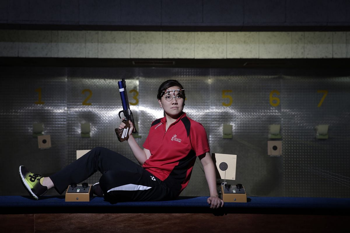 Teo Shun Xie, 28, in the shooting range at Catholic Junior College, where she first tried the sport. She will compete in the 10m air pistol and 25m pistol events in Rio.