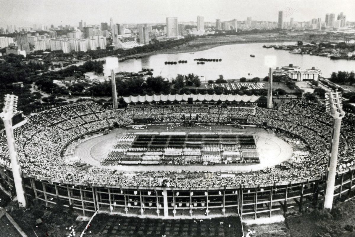 An aerial view of the 1980 parade at the old National Stadium.