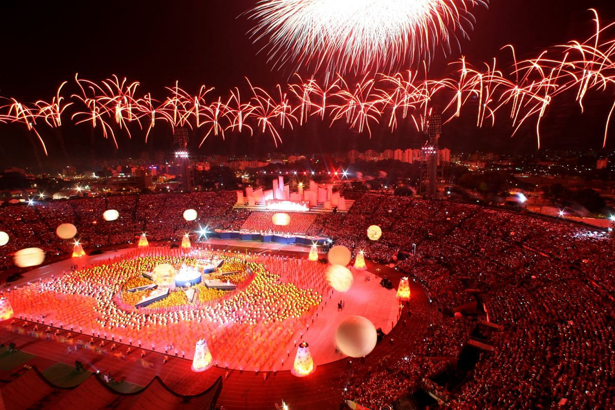 5: A final explosion of fireworks lighting up the sky over the National Stadium at the 2006 parade.