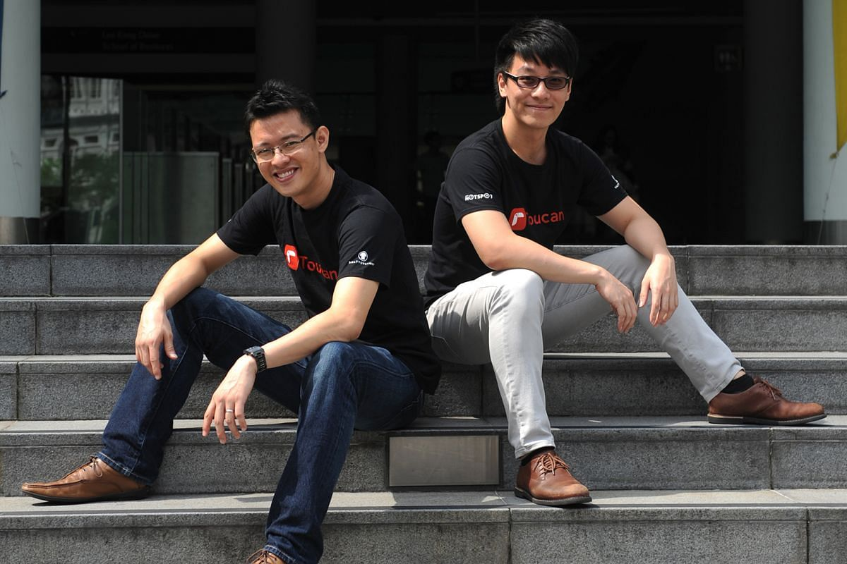 Mr Moskowitz (left) and Mr Torvekar are behind Attores, which is working on building a blockchain system that could revolutionise banking services such as trade finance, which is paper-intensive. Mr Loh (left) and Mr Zhang founded Toucan, which allow