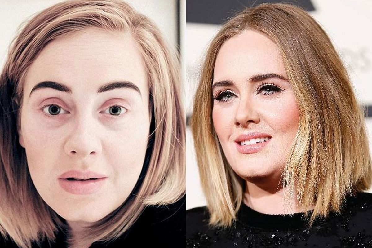 Celebrities without and with make-up: (from top) British singer Adele, 28; American model Cindy Crawford, 50; and American singer Alicia Keys, 35. Host and entrepreneur Teh May Wan, 35 Actress Joanne Peh, 33 Ms Pauline Ng, 29, founder and managing di