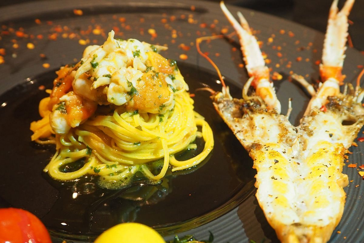 Tagliolini with langoustines (above).