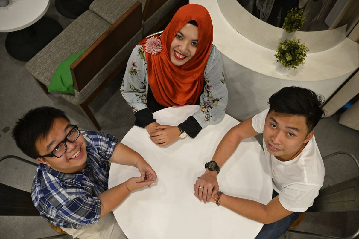 Ms Nur Atikah Amalina Mohd Zaini (above), who plans to talk about stereotypes associated with being a female Muslim. With her are fellow participants Lee Ci En (left), who was born with a genetic condition that causes dwarfism, and Aaron Tay, a tatto
