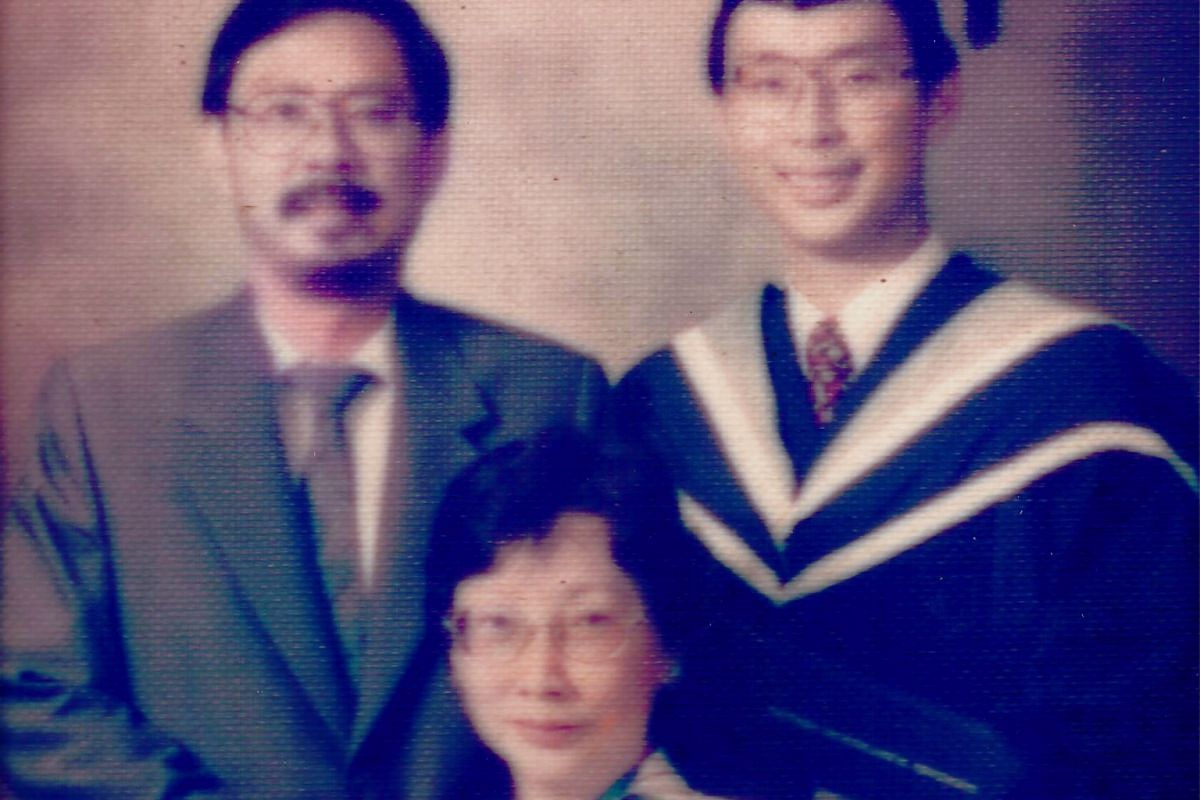 My life so far: The Hos with their son Hee Juan on his graduation in the 1990s.