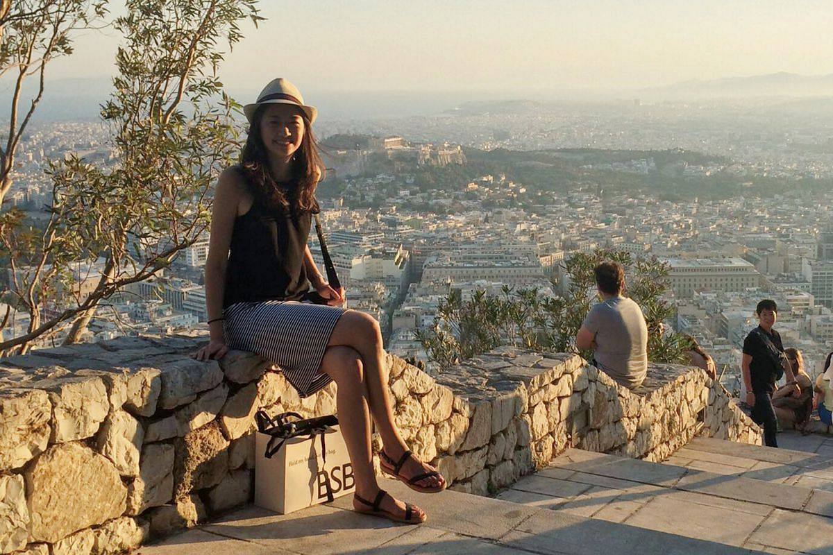 Trainee solicitor Goh Ee Ling at Lycabettus Hill in Athens, where visitors can see the mountains of the Peloponnese on a clear day.