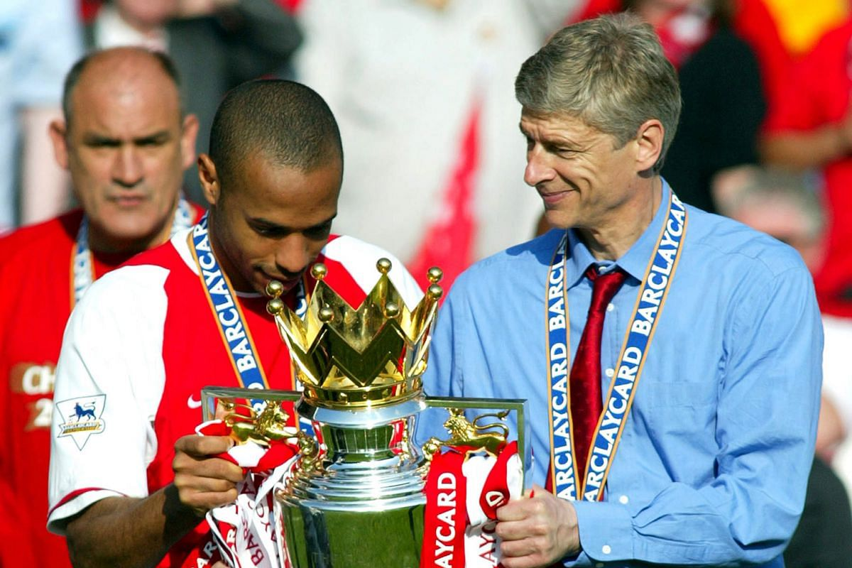 From being an unknown quality when he joined Arsenal in 1996 (right), Wenger has gone on to win the Premier League thrice - the first as quickly as in 1998 (centre), and the last one won unbeaten in the league in the 2003-04 season (far right).
