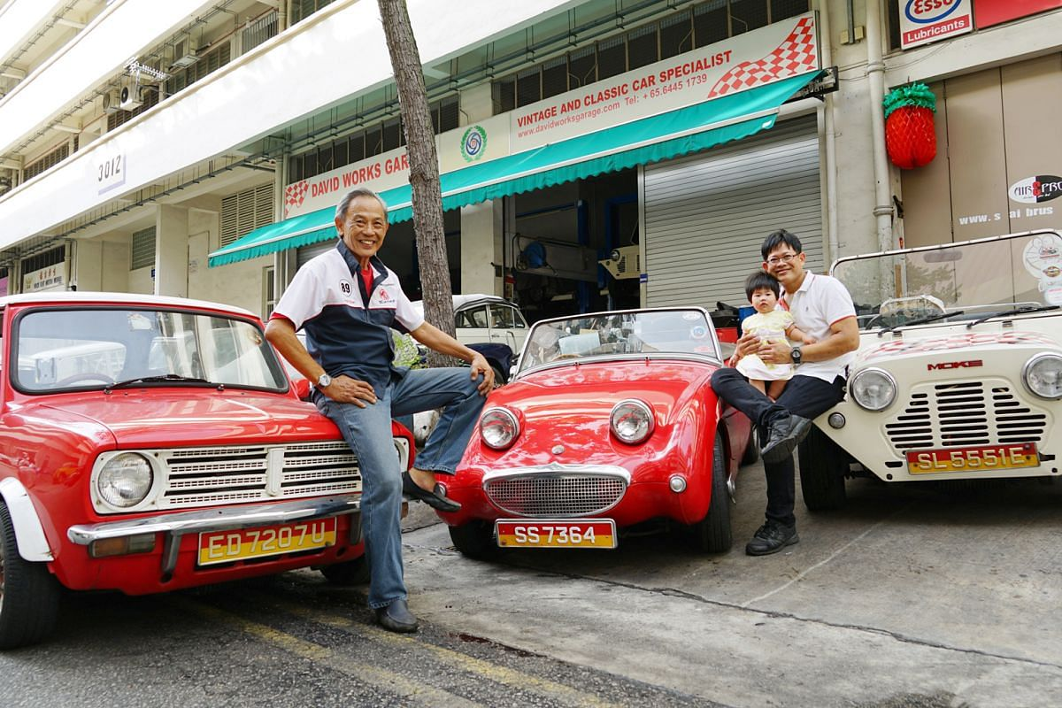 Mr David Chan (far left, with his son Brian and granddaughter Avery) has had the Austin- Healey Sprite (centre) since he was 18.