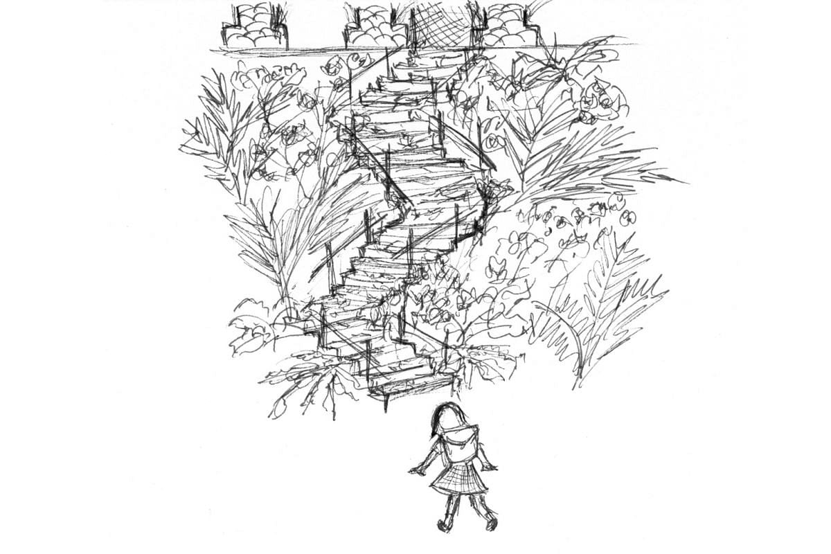 Ailian Gan (left) compiled her mini-stories, from going to kindergarten using a rocky staircase at the end of Leicester Road (above) to playing five stones, in 100 Days Of Childhood Memories.