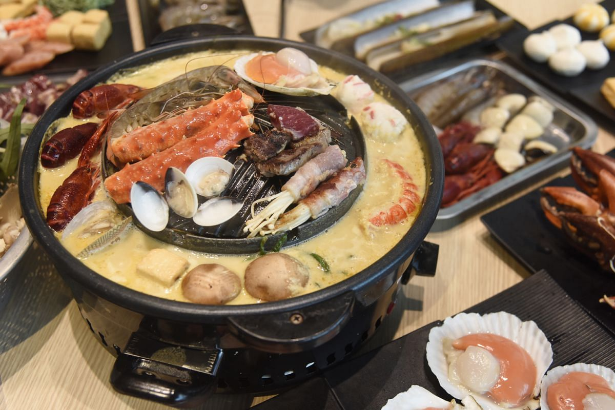 At Talay Kata, diners can enjoy a buffet spread of seafood and meat and stocks such as salted egg yolk soup.
