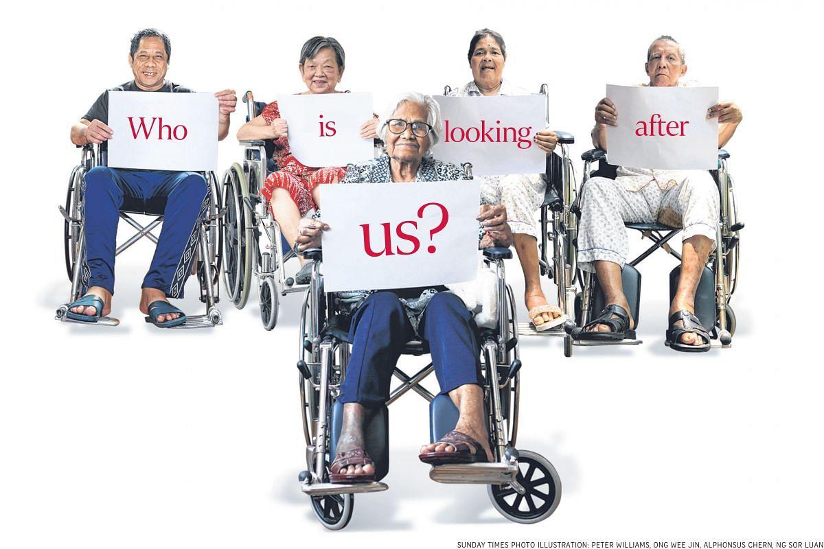 Back row (from left): Mr Hamdan Basir, 57, lives at Lentor Residence; Madam Chew Eng Huay, 70, lives at Ren Ci Nursing Home; Madam Nashua Adam, 74, and her husband, Mr Abu Salleh, 80, live at Swami nursing home. Front row: Mrs Theresa Hogan, 88, live