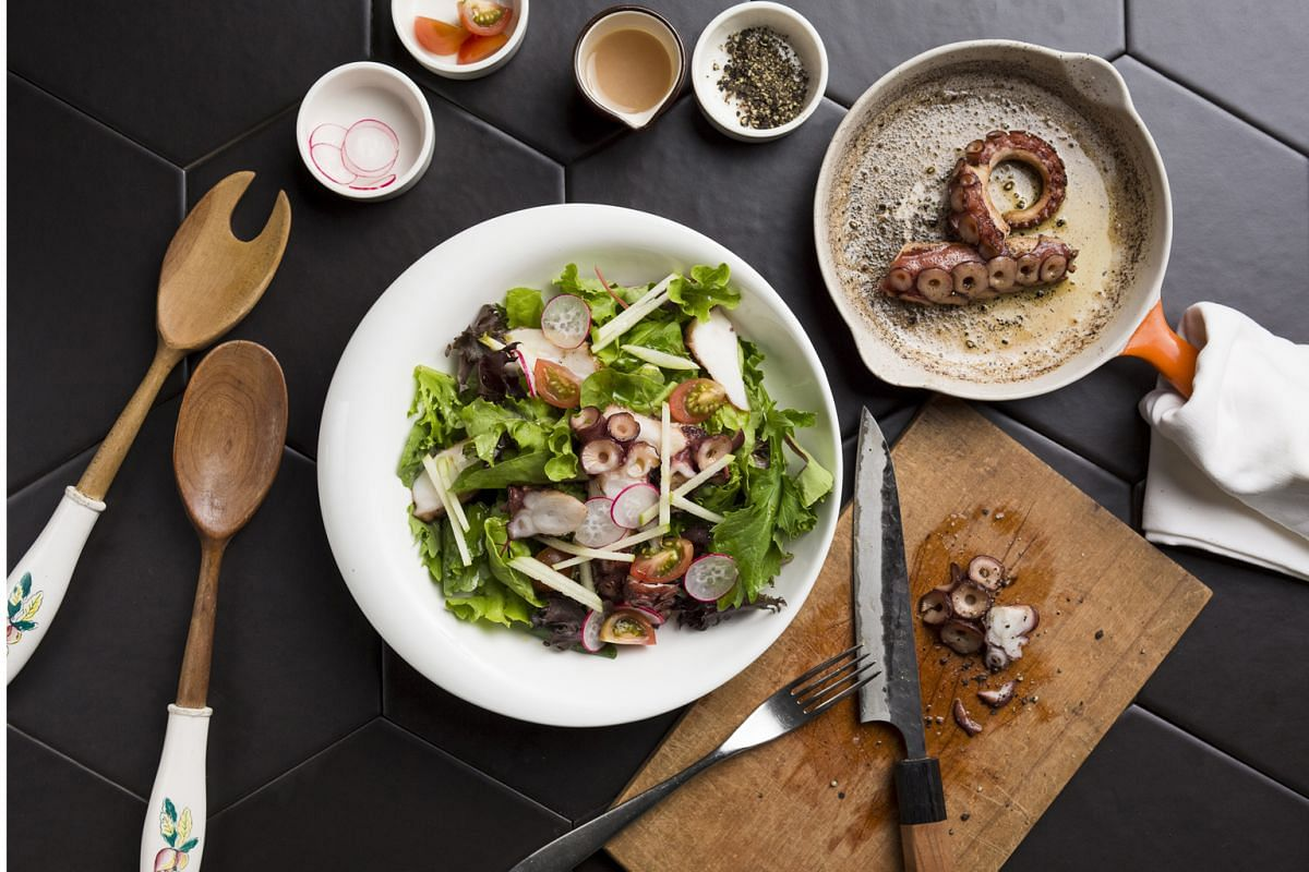 The Grilled Fremantle Octopus Salad ($17, above) makes a light but satisfying meal.